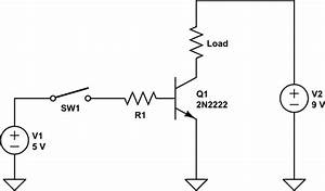 voltage switching 9v using a npn transistor and an With circuit 2n2222