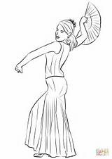 Coloring Spanish Flamenco Dancing Pages Woman Printable Drawing Getdrawings sketch template