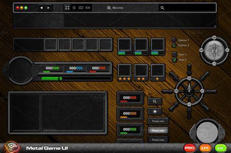 metal game ui kit web elements  creative market