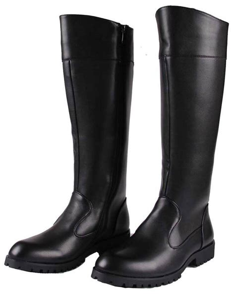 New Mens Leather Zip Knee High Riding Military Long Combat