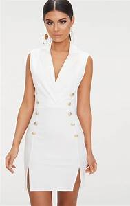 white frill bardot midi dress dresses prettylittlething usa With robe blazer blanche