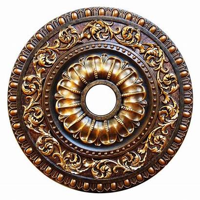 Ceiling Medallion Painted Hand Deco Autumn Gold