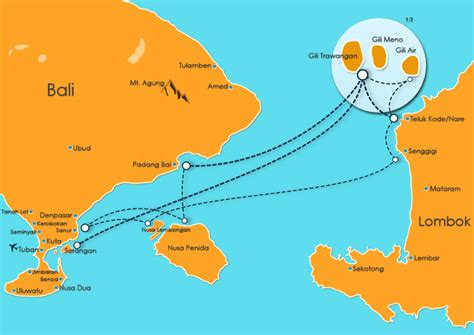 fast boat routes  south west  south east bali