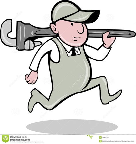 plumber monkey wrench running stock image image