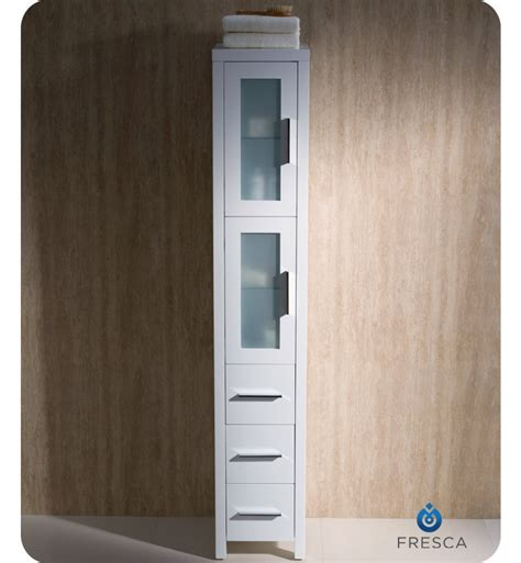 bathroom vanity with tall cabinet fresca fst6260wh torino tall bathroom linen side cabinet