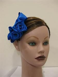 COBALT BLUE Satin Rose Hair Bow Clip Barrette Bridesmaid