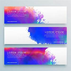 Three Watercolor Background Header Banner Design
