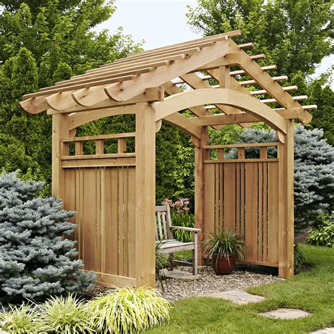 arching garden arbor woodworking plan outdoor backyard