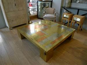 very large brass and copper coffee table dubarry c1970 With very large coffee table