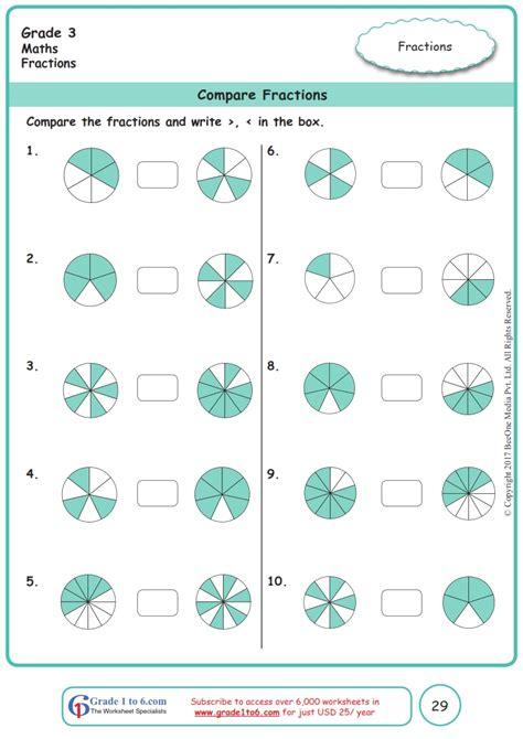 grade  comparing fractions worksheetswwwgradetocom