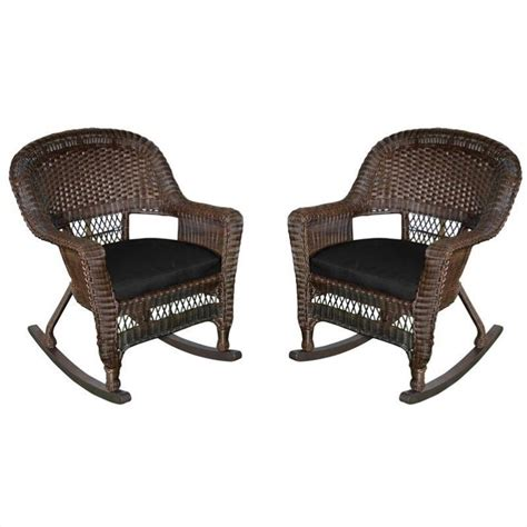 jeco wicker chair in espresso with black cushion set of 4