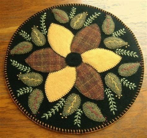 primitive wool rug jar candle mat pinwheel by