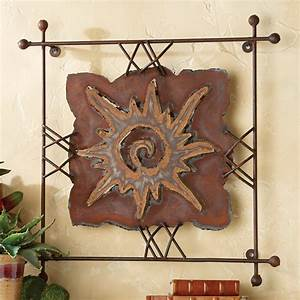 Sun quot rawhide metal wall art large