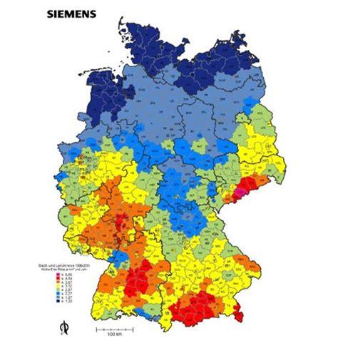 größe deutschland gewitter deutschlandkarte wo die meisten blitze einschlagen