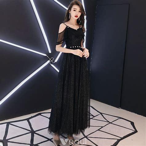 Bling Bling Black Evening Dresses 2018 A-Line / Princess ...