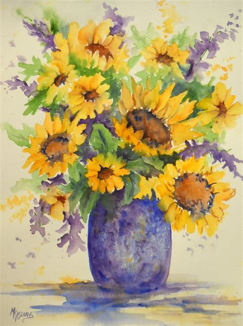 Martha Kisling Art With Heart : SUNFLOWER BOUQUET Watercolor