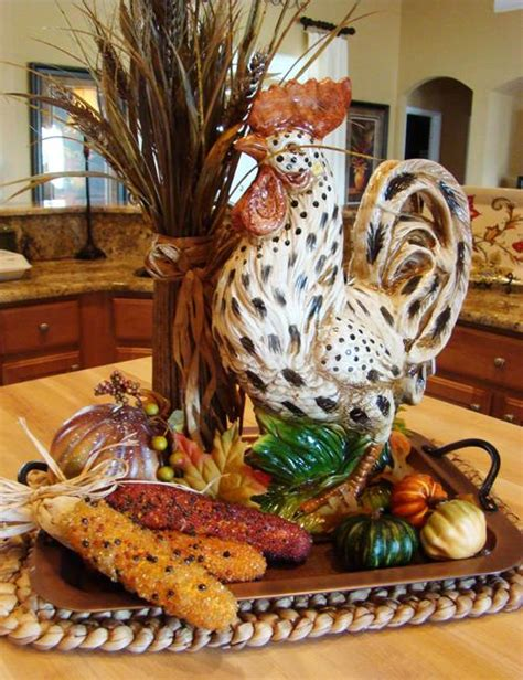 flower arrangements  rooster accents creating bold