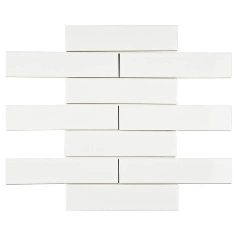 4 X 8 Glossy White Subway Tile by Merola Tile Metro Soho Subway Glossy White 1 3 4 In X 7 3