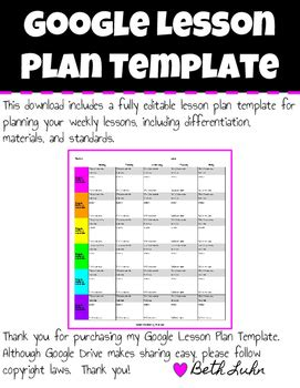 Google Lesson Plan Template by Luhny Lady Leading | TpT