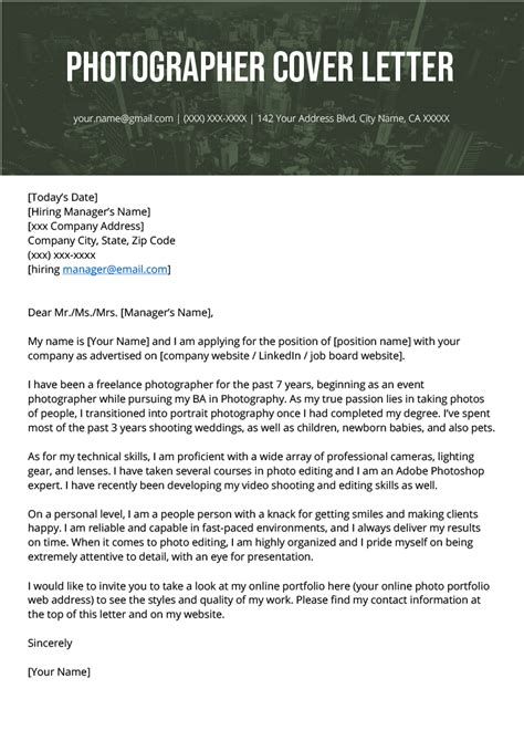 photographer cover letter  writing tips resume