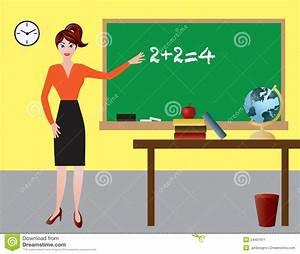 Female Teacher In Classroom Illustration Stock