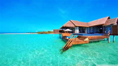 Boat Hotel Definition by Water Bungalows On A Tropical Island 4k Hd Desktop