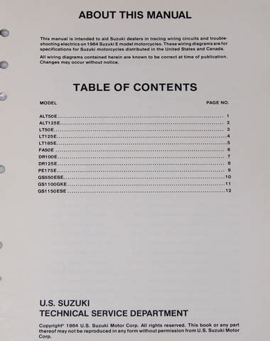 1984 suzuki motorcycle and atv electrical wiring diagrams manual 84 quot e quot factory repair