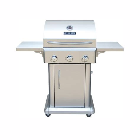 stainless steel gas grills master forge stainless steel 3 burner 36 000 btu liquid propane gas grill rt2417s lowe s