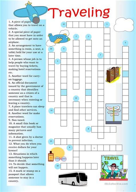 crossword traveling worksheet  esl printable