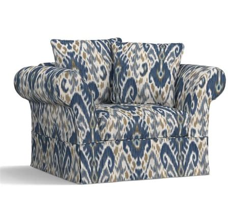 pottery barn chair and a half charleston slipcovered chair and a half print and