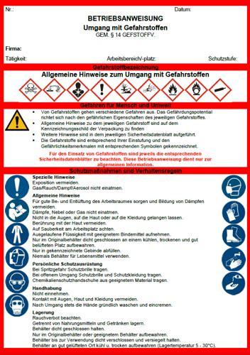 betriebsanweisung umgang mit gefahrstoffen sofort
