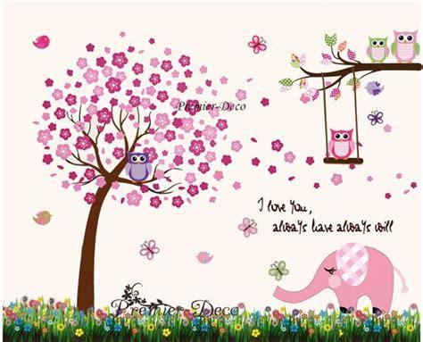 Kinderzimmer Ideen Für Mädchen Eule by Large Cherry Tree Owls Butterfly Elephant Nursery