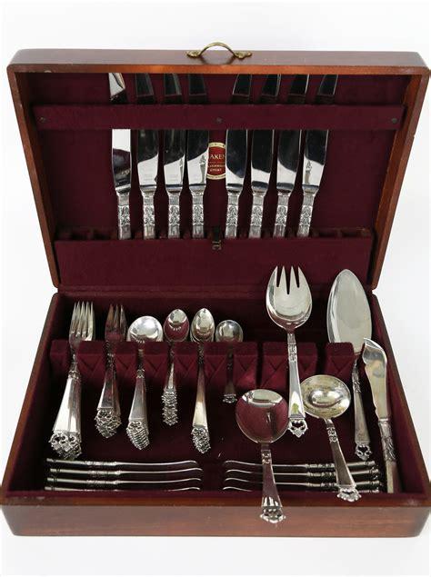 sterling frigast denmark silver flatware crown danish pattern service eight ma