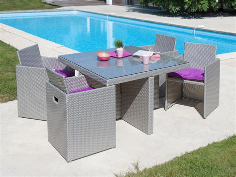 salon de jardin encastrable 4 places table 105x105cm en r 233 sine tress 233 e plateau verre 4