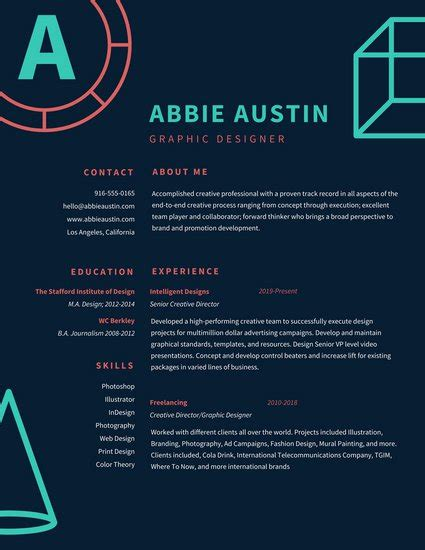 graphic design resumes 20 eye catching designer resume templates to get a