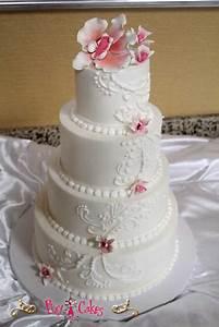 Wedding Cake Quinceanera Cake 4 Tiers Waterfall Flowers