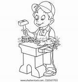 Coloring Blacksmith Worker Colouring Pages Template Shutterstock Vector Escalator Sketch sketch template