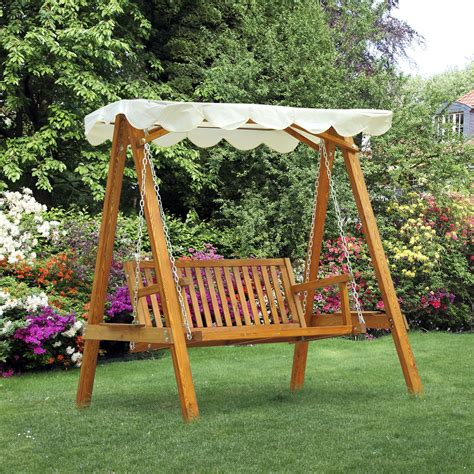 outsunny wooden swing chair outdoor patio furniture