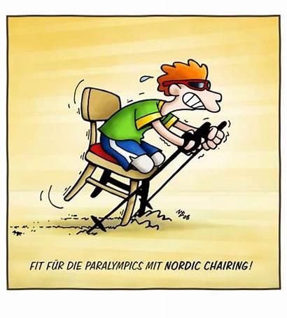 Nordic Walking Cartoon Humor Chairing Fitness Volkertoons
