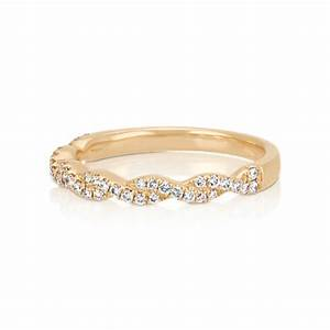 Infinity Twist Pav Set Diamond Wedding Band In 14k Yellow