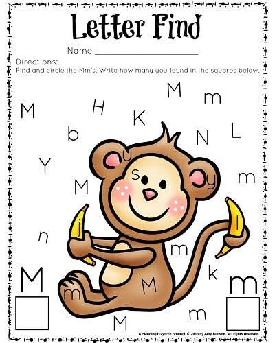 letter find worksheets with a freebie planning playtime 847 | Letter Find M Color