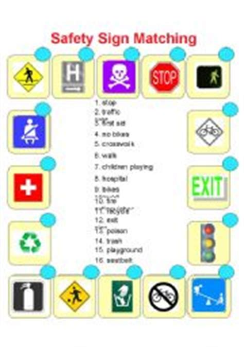 Safety Sign Matching  Esl Worksheet By Dawn503