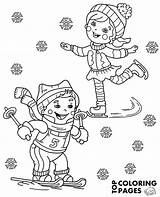 Winter Sports Coloring Children Pages sketch template