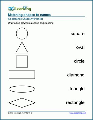 names of shapes worksheets for preschool and kindergarten 672 | kindergarten match shapes to names