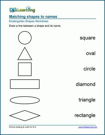 Names Of Shapes Worksheets For Preschool And Kindergarten  K5 Learning