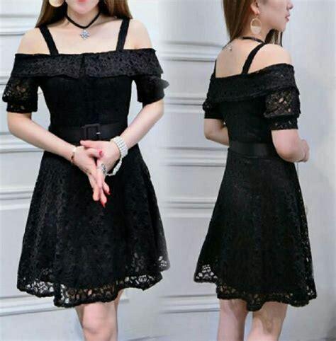 baju mini dress pendek sabrina warna hitam simple