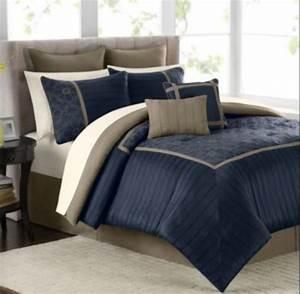 Mens, Bedroom, Beiges, Navy, Blue, Dark, Brown, Small, Bed