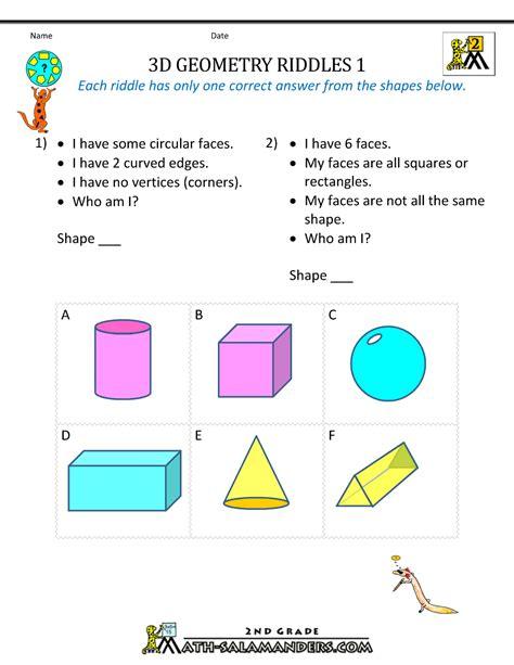 Free Geometry Worksheets 2nd Grade Geometry Riddles