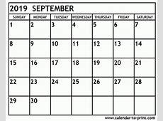 Calendar September 2019 Calendar