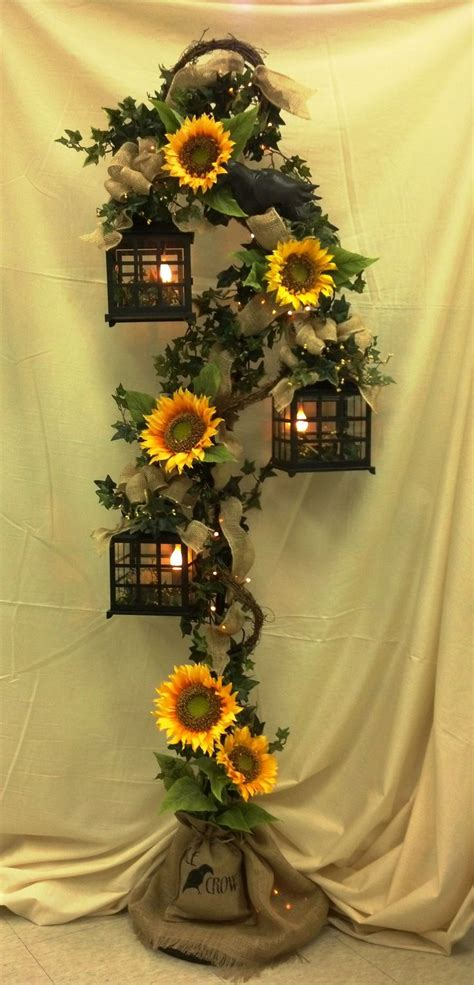 Gorgeous 3 Tier Lantern With Burlap Sunflowers And Crows